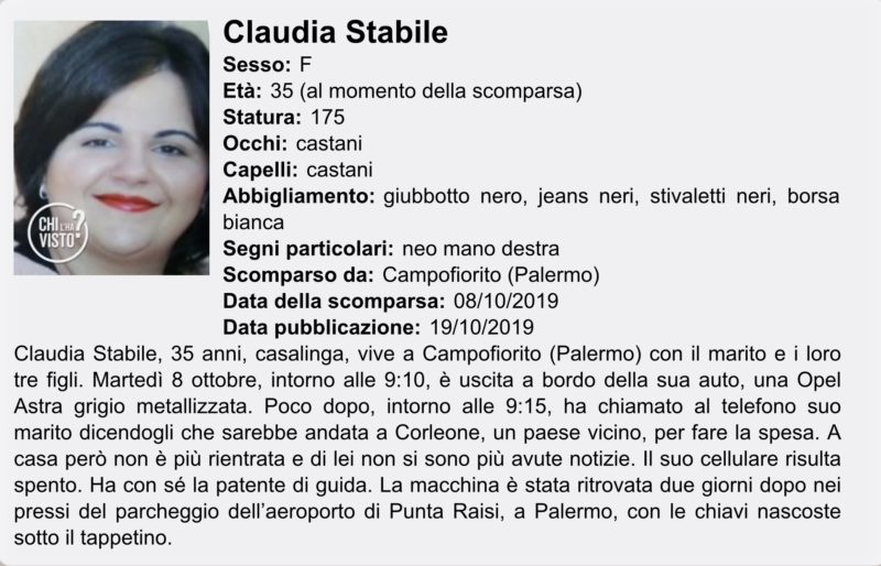 Claudia Stabile è scomparsa