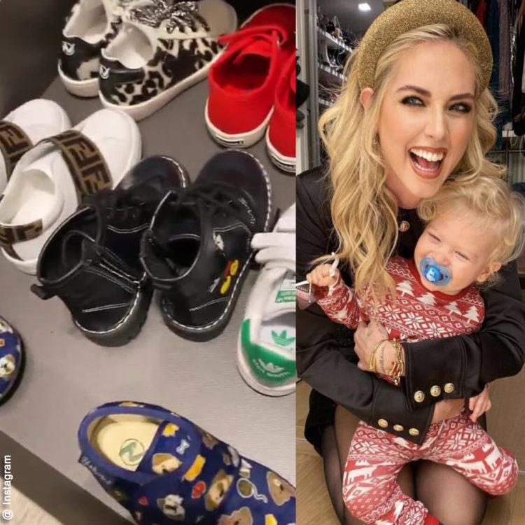 Chiara Ferragni mostra le scarpe del figlio Leone