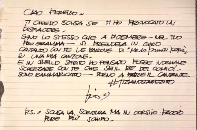 Il biglietto di scuse di Tiziano Ferro