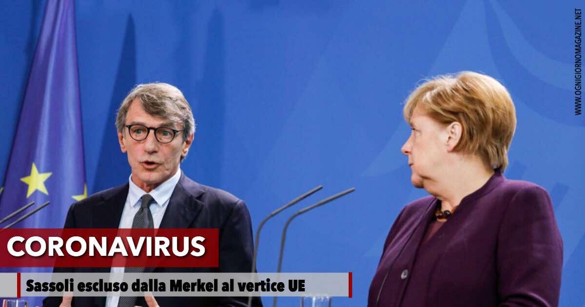 Sassoli escluso dal vertice UE sul Coronavirus