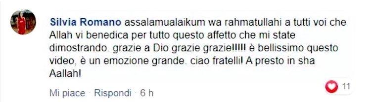 Silvia Romano ringrazia i musulmani