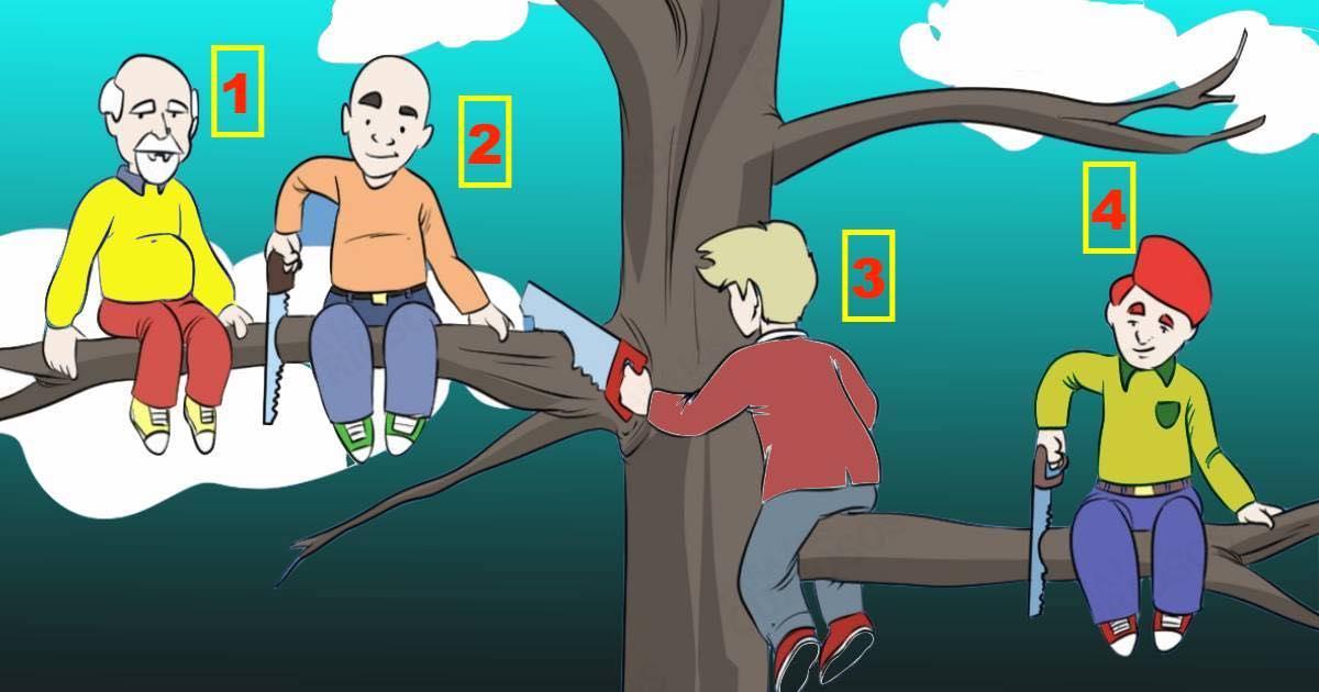 Test psicologico dei quattro uomini sull'albero