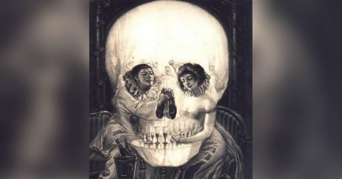cattura prima il tuo sguardo l'uomo, la donna o il teschio nell'immagine