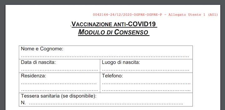 modulo consenso vaccinazione