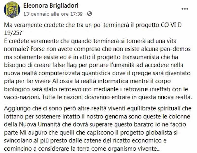Eleonora Brigliadori sui social spiega quella che definisce una teoria complottistica