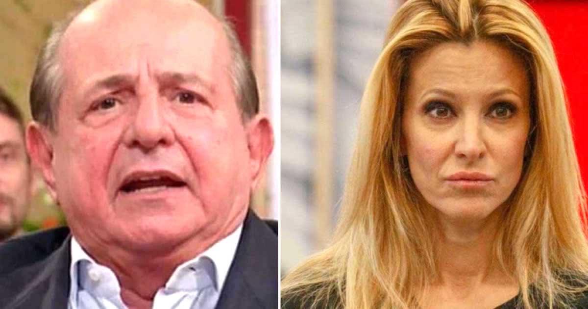 Giancarlo Magalli colto in flagrante mentre parla di Adriana Volpe con Samanta