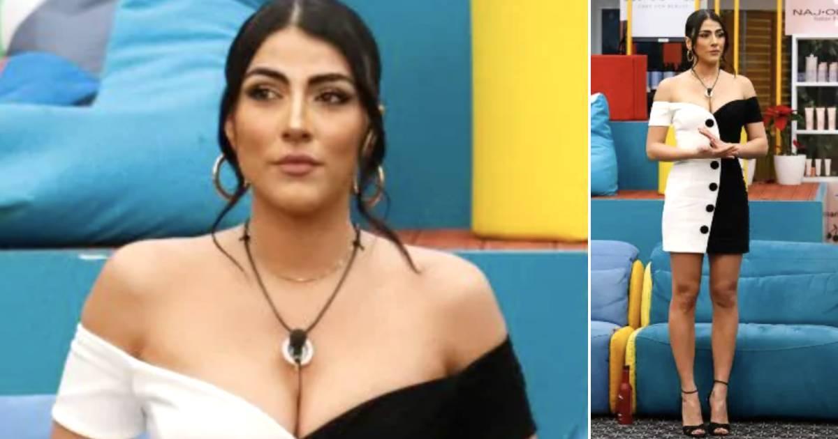 Giulia Salemi strepitosa in bianco e nero con il suo look da capogiro