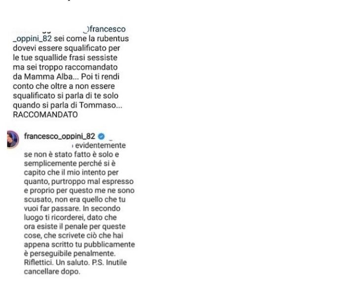 La risposta di Francesco Oppini all'accusa di essere raccomandato