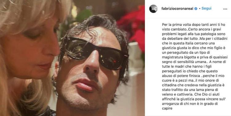 appello della madre di Fabrizio Corona